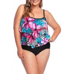 Maxine Plus Serengeti Floral Print Faux Tankini Swimsuit