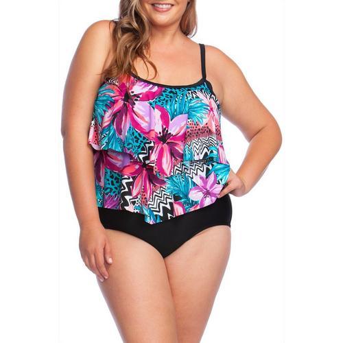 8ce6cfe4d4 Maxine Plus Serengeti Floral Print Faux Tankini Swimsuit