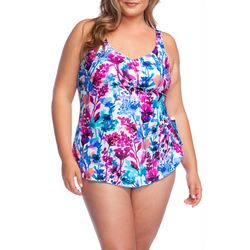 Maxine Plus Parisian Garden Sarong One Piece Swimsuit