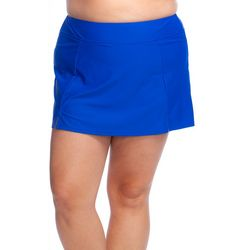 Maxine Plus Solid Wide Waist Swim Skort