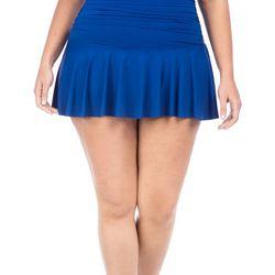 Chaps Plus Control High Waist Pleated Swim Skirt