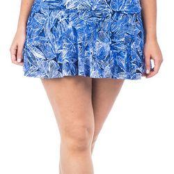 Chaps Plus Palm Leaf Print Swim Skirt