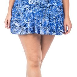 Chaps Plus Palm Leaf Print Swim Skirt