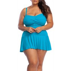 Chaps Plus Solid Twist Front Shirred Bandeau Swimdress