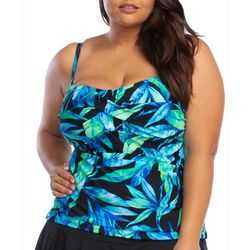 Chaps Plus Tropical Print Bandeau Tankini Top