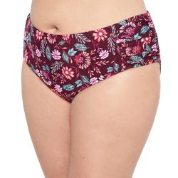 Hot Water Juniors Plus Garden Blooms Shirred Swim Bottoms