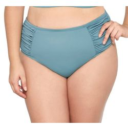 Hot Water Juniors Plus Solid Ribbed High Waist Swim Bottoms
