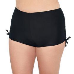 Hot Water Juniors Plus Solid Side Tie Swim Shorts