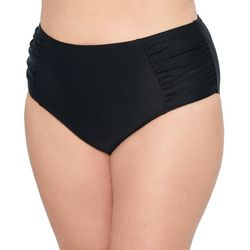 Hot Water Juniors Plus Solid High Waist Shirred Swim Bottoms