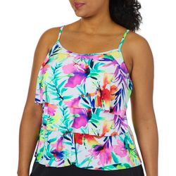 Caribbean Joe Plus Tropical Print Triple Tier Tankini Top