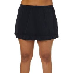 Caribbean Joe Plus Solid Ruffle Swim Skirt