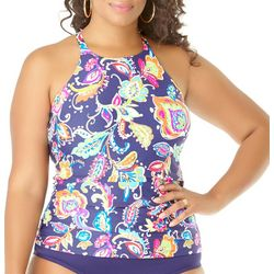 Anne Cole Plus Paisley Pom High Neck Tankini Top