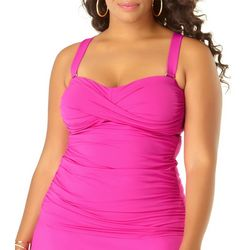 Anne Cole Plus Live In Color Twist Front Shirred Tankini Top