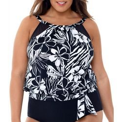 Paradise Bay Plus Bold Floral Side Tie Blouson Tankini Top