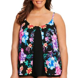 Beach Diva Plus Tropical Floral Flyaway Tankini Top