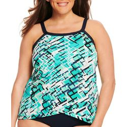 Paradise Bay Plus Abstract Cross Hem Tankini Top