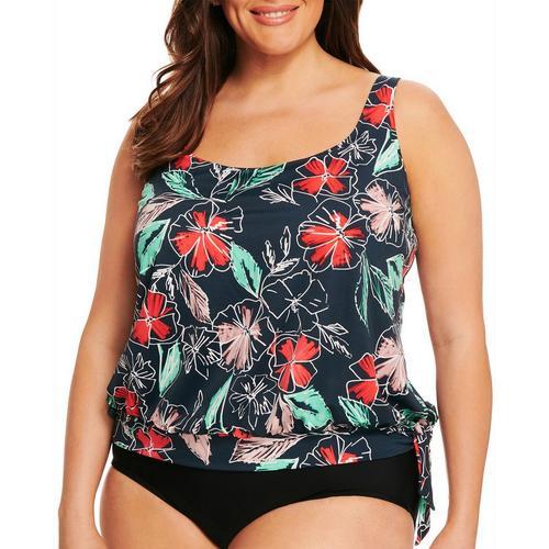 b2aa391a4e9fc Paradise Bay Plus Floral Side Tie Blouson Tankini Top