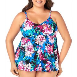 Paradise Bay Plus Blooming Floral Print Empire Tankini Top