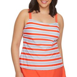 Beach Diva Plus Stripe Print Square Neck Tankini Top