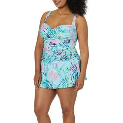 Emerald Bay Plus Tropical Palm Shirred Swimdress