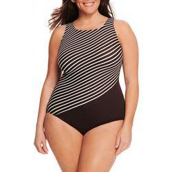 Longitude Plus Diagonal Stripe Hi-Neck One Piece Swimsuit