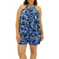 A Shore Fit Plus Leaf Print Two Tier Romper Swimsuit