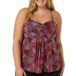 A Shore Fit Plus Floral Print Mesh Flyaway Tankini Top