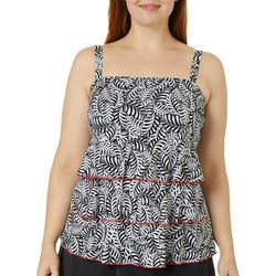 A Shore Fit Plus Bold Leaves Triple Tier Tankini Top