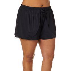 A Shore Fit Plus Solid Faux Wrap Swim Shorts