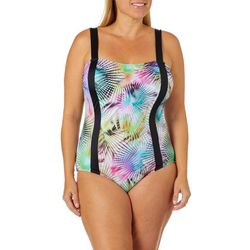 Reel Legends Plus Rainbow Palm One Piece Swimsuit