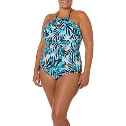 Reel Legends Plus Party Palm High Neck One Piece Swimsuit
