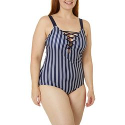 Nautica Womens Striped Lace Up MIO One Piece Swimsuit