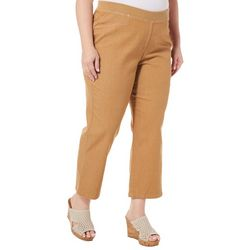 Hearts of Palm Plus Solid Pull On Crop Jeggings