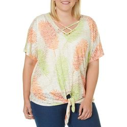 Hearts of Palm Plus Tribal Matters Palm Leaf Burnout Top