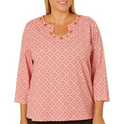 Hearts of Palm Plus Medallion Print Horseshoe Neck Top