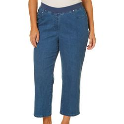 Hearts of Palm Plus Solid Pull-On Denim Jegging Capris