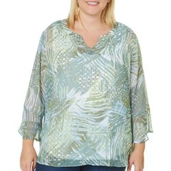 Hearts of Palm Plus Island Treasures Leaf Print Top