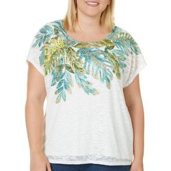 Hearts of Palm Plus Island Treasures Leaf Burnout Top