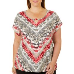Hearts of Palm Plus Wrapped In Rubies Snake Print Top