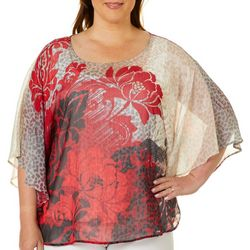 Hearts of Palm Plus Wrapped In Rubies Floral Animal Top