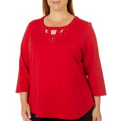 Hearts of Palm Plus Wrapped In Rubies Embellished Neck Top