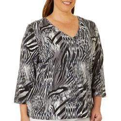 Hearts of Palm Plus Must Haves III Animal Faux-Wrap Top