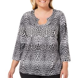 Hearts of Palm Plus Must Haves Faded Animal Print Top