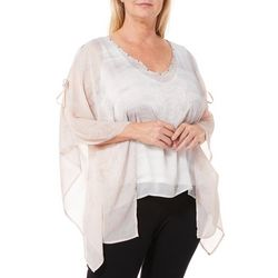 Hearts of Palm Plus Blush Hour Medallion Print Poncho Top