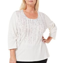 Hearts of Palm Plus Blush Hour Embellished Abstract Top