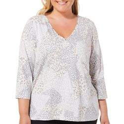 Hearts of Palm Plus Blush Hour Surpliced Animal Patch Top