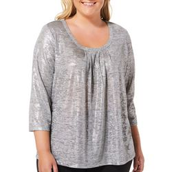 Hearts of Palm Plus Blush Hour Foil Print Top