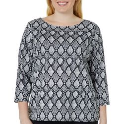 Hearts of Palm Plus Must Haves Geometric Snake Print Top