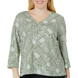 Hearts of Palm Plus Must Haves III Geometric Faux Wrap Top