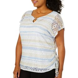 Hearts of Palm Plus Natural Wonders Stripe Side Ruched Top